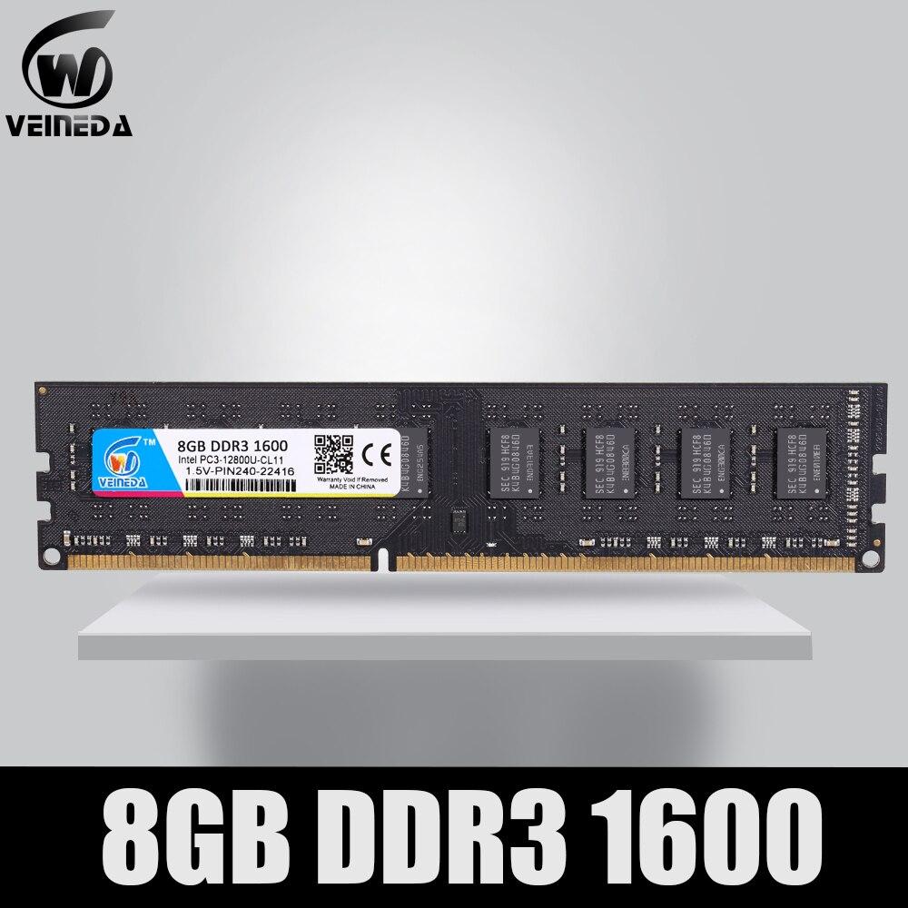VEINEDA DDR3 4gb 8gb PC3 1333 1600 1333MHZ 1600MHZ 10600 12800  4G 8G RAM PC Memory RAM Memoria Module Computer Desktop