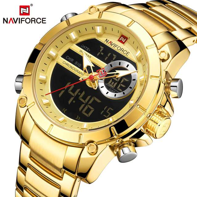 NAVIFORCE Men's Dual Display Military Fashion Stainless Steel Waterproof Complete Calendar Quartz Watches 1