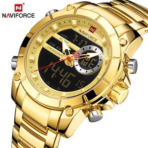 Image 5 - NAVIFORCE Men Military Sport Wrist Watch Gold Quartz Steel Waterproof Dual Display Male Clock Watches Relogio Masculino 9163