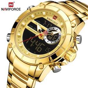 Image 5 - NAVIFORCE – Montre à Quartz de sport pour hommes, accessoire masculin style militaire, acier doré, étanche, double affichage, 9163