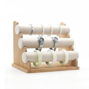 Image 5 - 3layer Bamboo Watch Bracelet Storage Stand Bangle Jewelry Organizer Storage Holder Bracelet Display Stand Rack Jewelry Display