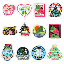 20pcs/lot 3M  Self-adhesive Circular Embroidery Patch Christmas Letter Clothing Accessories