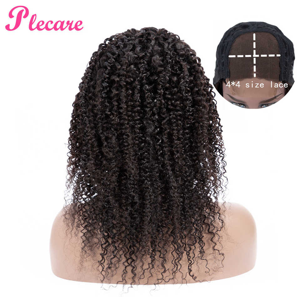 Plecare 4*4 Curly Human Hair Wig Lace Closure Human Hair Wigs For Black Women Brazilian Non-remy Natural Color