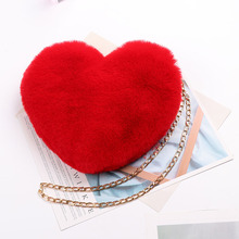 Heart-Shaped Crossbody Bags For Women Solid Color Winter Faux Fur Shoulder Bags Messenger Bag Small Chain Ladies Handbags