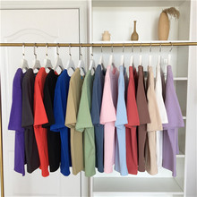 High Quality Cotton Harajuku Tshirt 18 Solid Colors Basic T Shirt Women Casual Tops Loose White Summer Short Sleeve T-shirt