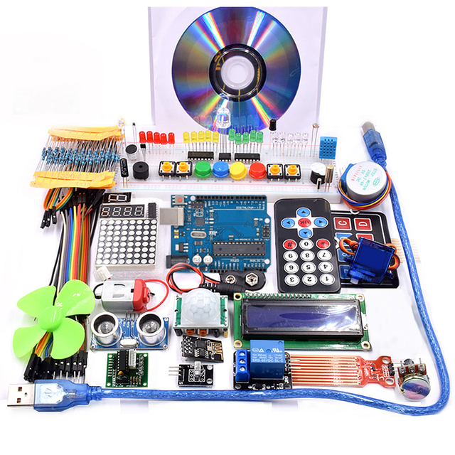 Wifi 모듈, 130 모터, HC SR501, 1602, 릴레이, HC sr04, arduino uno r3 용 RGB 모듈이있는 슈퍼 스타터 키트