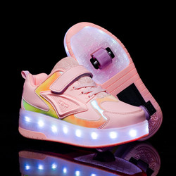 Luminous sneakers kids shoes for girls roller with two wheels boys led charge shoes on wheel children rollers light shining