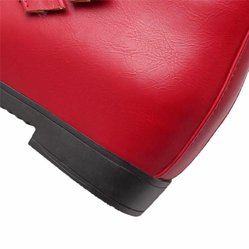 MORAZORA 2020 artı boyutu 33-43 rahat düşük topuk kadın botları pu deri toka bayanlar ayakkabı kış yarım çizmeler siyah kırmızı