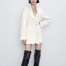Autumn winter white Women's suit sashes casual chic lady coat female single button belt blazer outerwear women ZA style(China)
