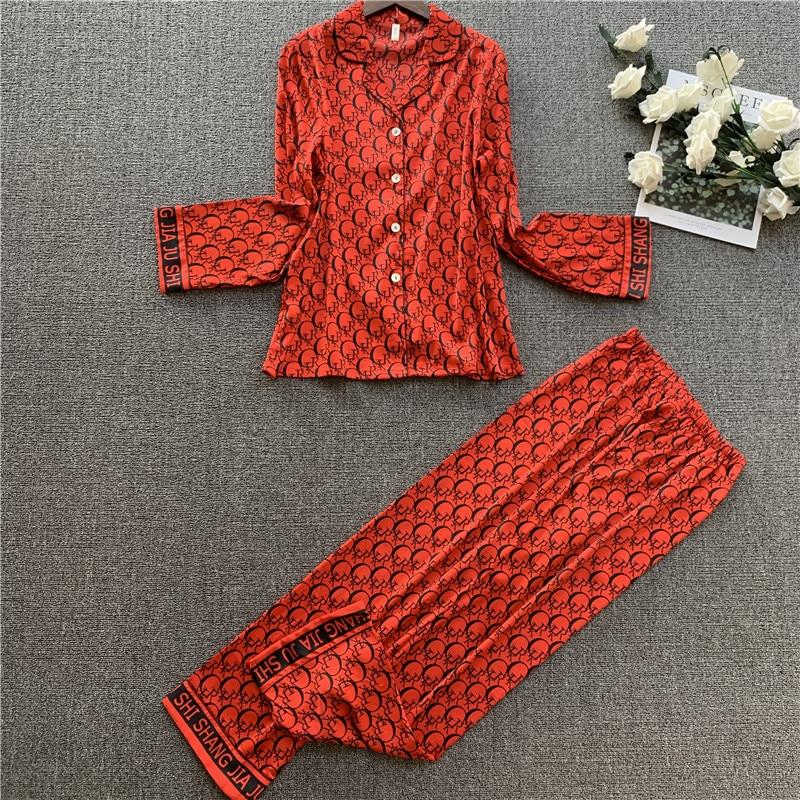 2020 Ladies Silk Poly Pajamas Sets Women Long Sleeve Trousers Two piece Set Sleepwear Lounge Sets Pijama Mujer Female Nightsuits|Pajama Sets| - AliExpress