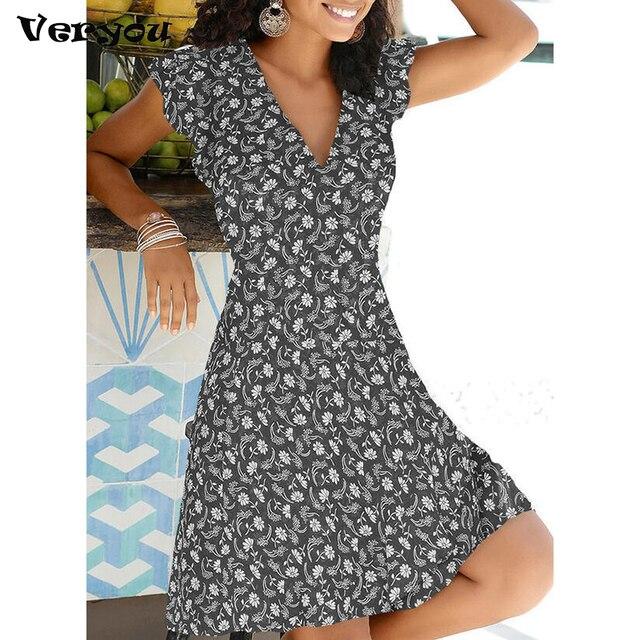 New Summer V Neck Floral Print Party Dress Women Vintage Sleeveless Tank Mini Dress Spring Loose Plus Size A-Line Dress 2021 1