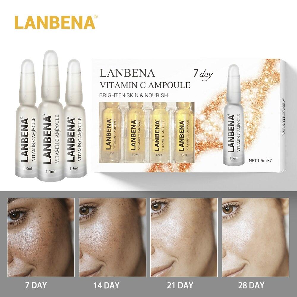 Lanbena Vitamin C Ampoule Serum Whitening Moisturizer Remover Freckle Speckle Fade Dark Spots Anti-aging Nourishing For 7 Days