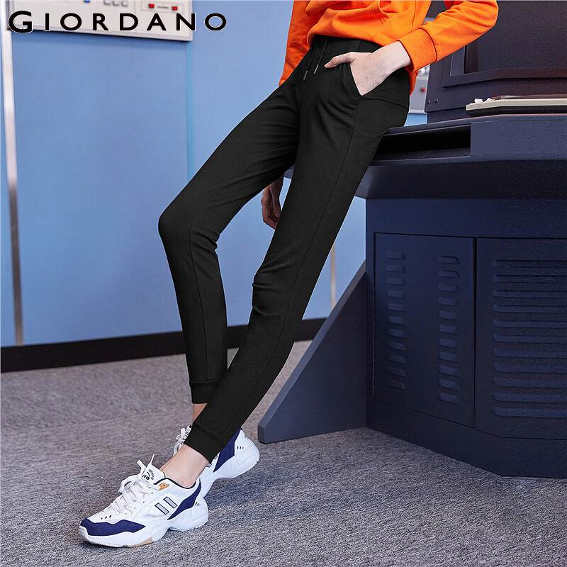 Giordano Women Joggers Solid Casual Cotton Blended Pants Ribbed Cuffs Elastic Waist Pantalon Femme 05419071