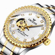 Men Automatic Mechanical Watch Self-wind Clock Luxury Diamon
