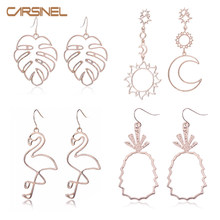 CARSINEL Brand Fashion 4Pair/sets Rose Gold colors Geometric Earings For Women Female Drop Dangle Earring Jewelry 2019 ER0723(China)