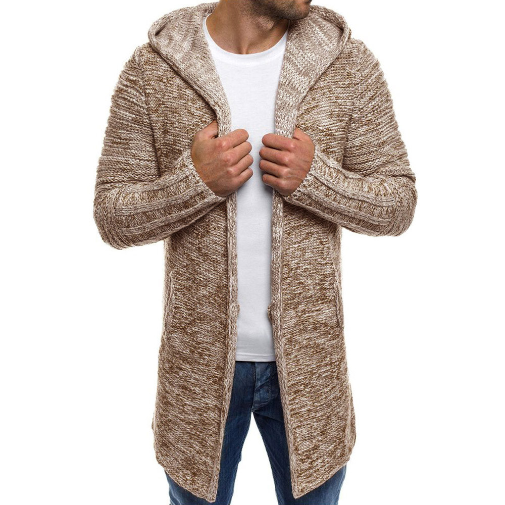 Men's Knit Wool Coat Jacket Hooded Cardigan Solid Color Long Sleeve Autumn Winter Coat Mens Overcoat Abrigo Hombre Outwear 2019