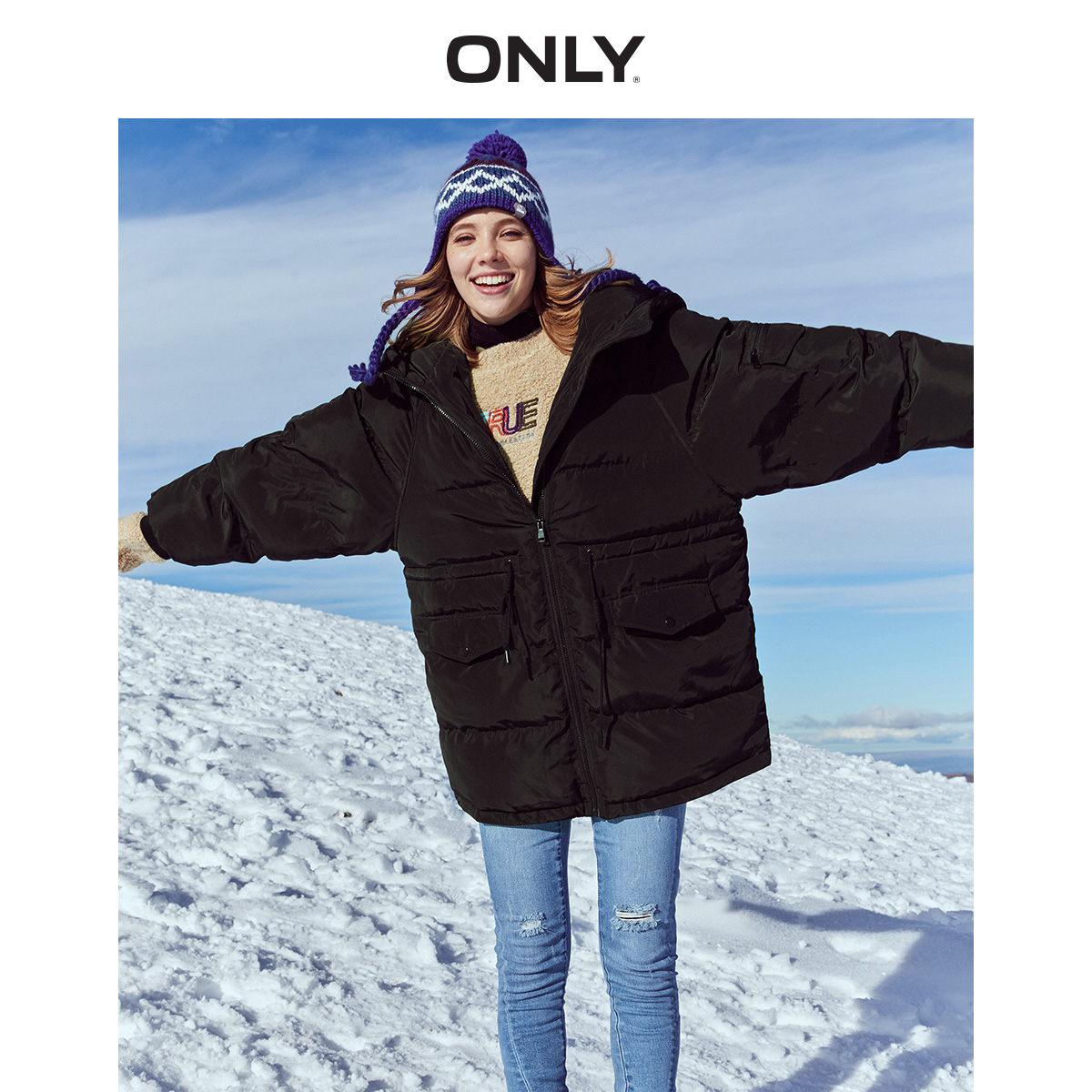 ONLY Autumn Winter Women's Loose Fit Cotton Coat | 119322510