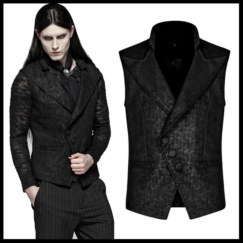 Punk Rave Mens Steampunk Waistcoat Vest Black Gothic Victorian Gentleman Wedding