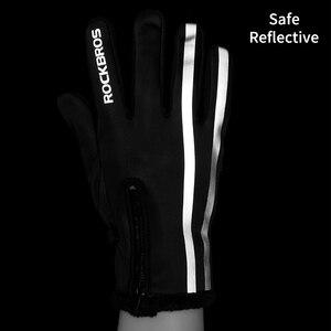 Image 4 - ROCKBROS gants de cyclisme pour hommes et femmes, à écran tactile, thermique, antidérapant, chaud, complet des doigts, pour lhiver