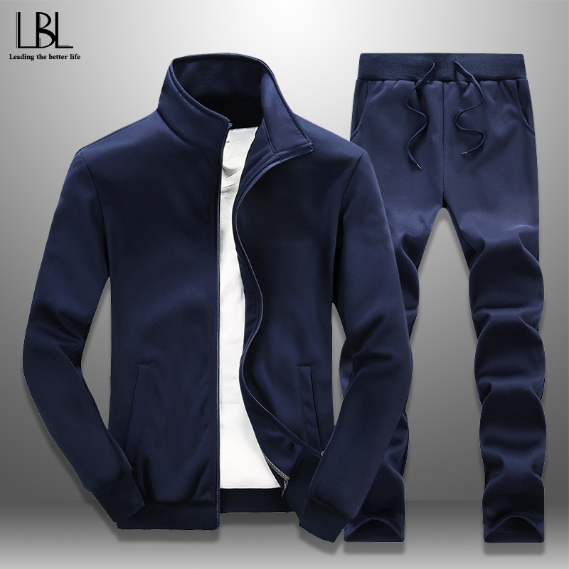2019 Spring Autumn Men Casual Tracksuit 2 Piece Set Men's Sportswear Zipper Sports Coat + Long Pants Joggers Fitness Cloth Slim