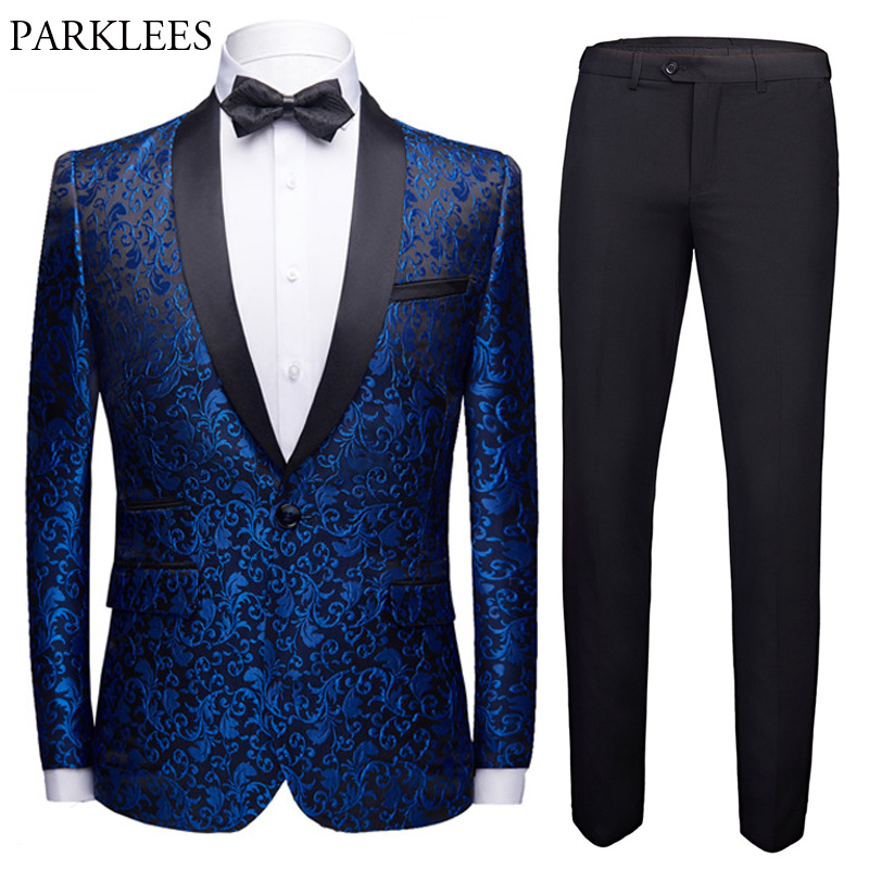 Wedding Suits For Men (Jacket+Pants+Bowtie) Floral Jacquard Shawl Collar One Button Mens Suits With Pants Prom Costume Homme 4XL