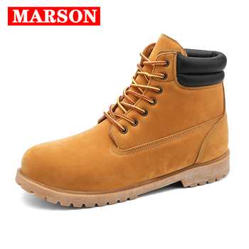 New Men Shoes Round Toe Work Boots Men Leather Platform Casual Motorcycle Boots Ankle Boots Winter Shoes Rubber Sole Chaussures women s boots genuine leather shoes new martin boots round toe buckle fashion boots motorcycle winter platform warm shoes boots