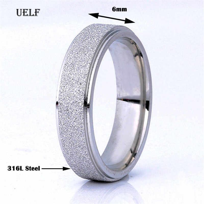 Uelf cor de ouro rosa anel de dedo fosco para mulher homem jóias de casamento 316l qualidade superior de aço inoxidável nunca desaparecer tamanho 6-12