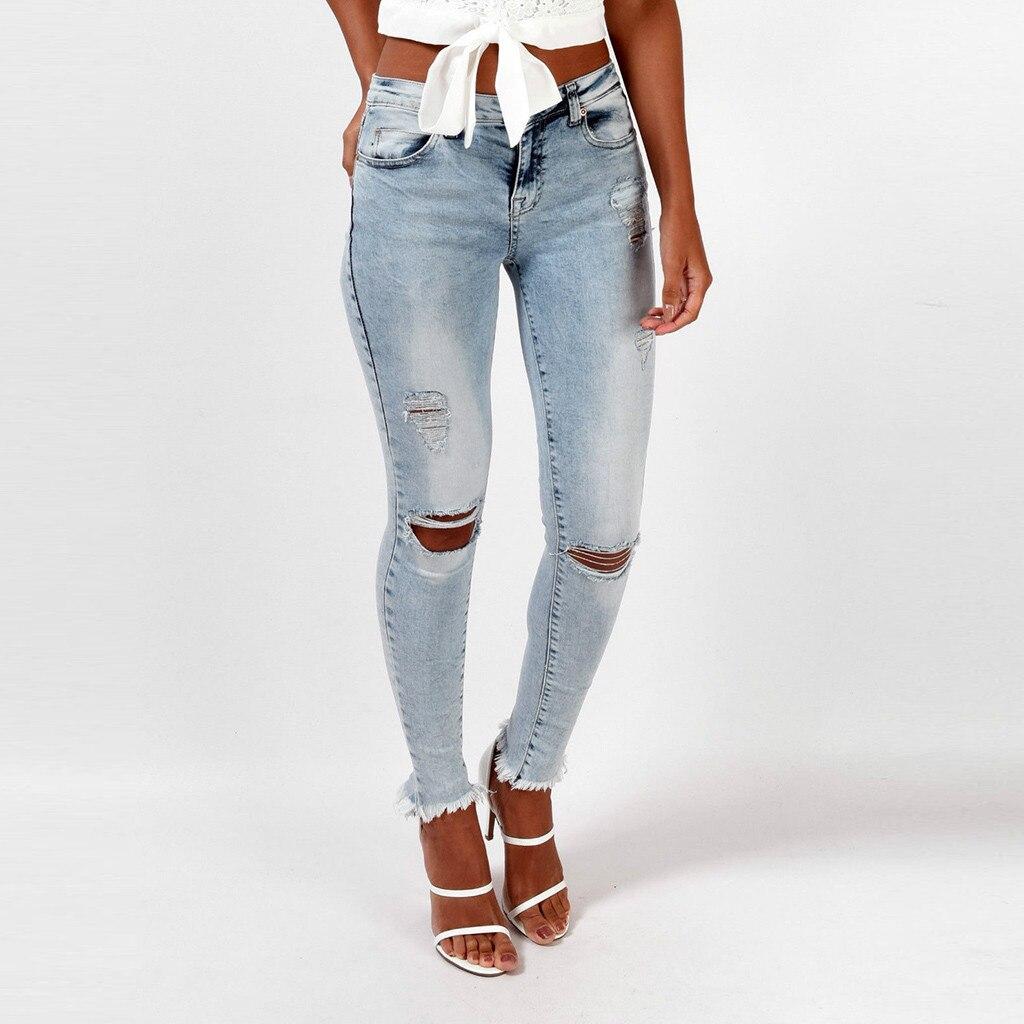 Ripped Jeans for Women High Waist Hole Button Hole Zipper Denim Jeans Pocket Streetwear Trousers Jeans Casual Denim Pants
