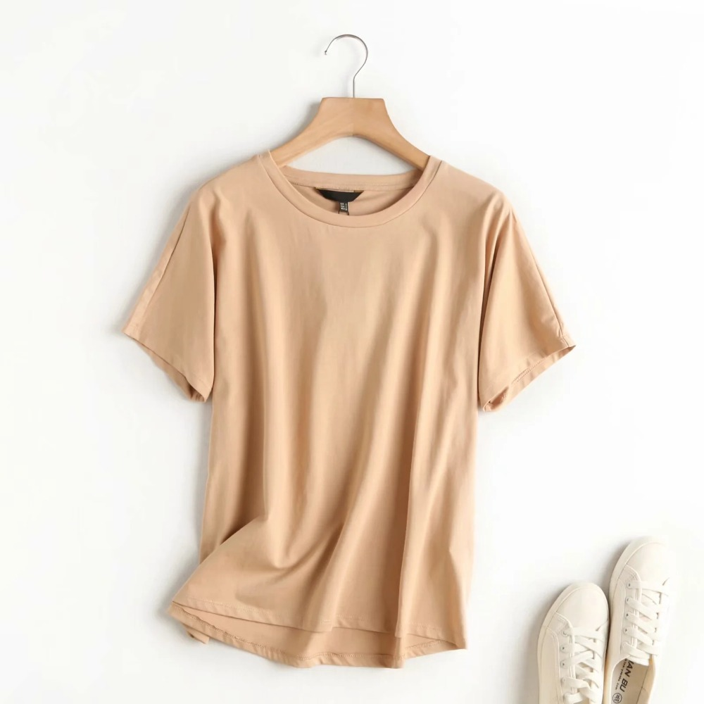 Summer Women Tshirts England Style Simple Solid O-Neck Cotton - tops-tees
