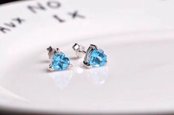 6mm Top Natural Blue Topaz Earrings Studs For Women Lady Crystal Love Gift Stone Beads Silver Sterling Earrings Jewelry AAAAA