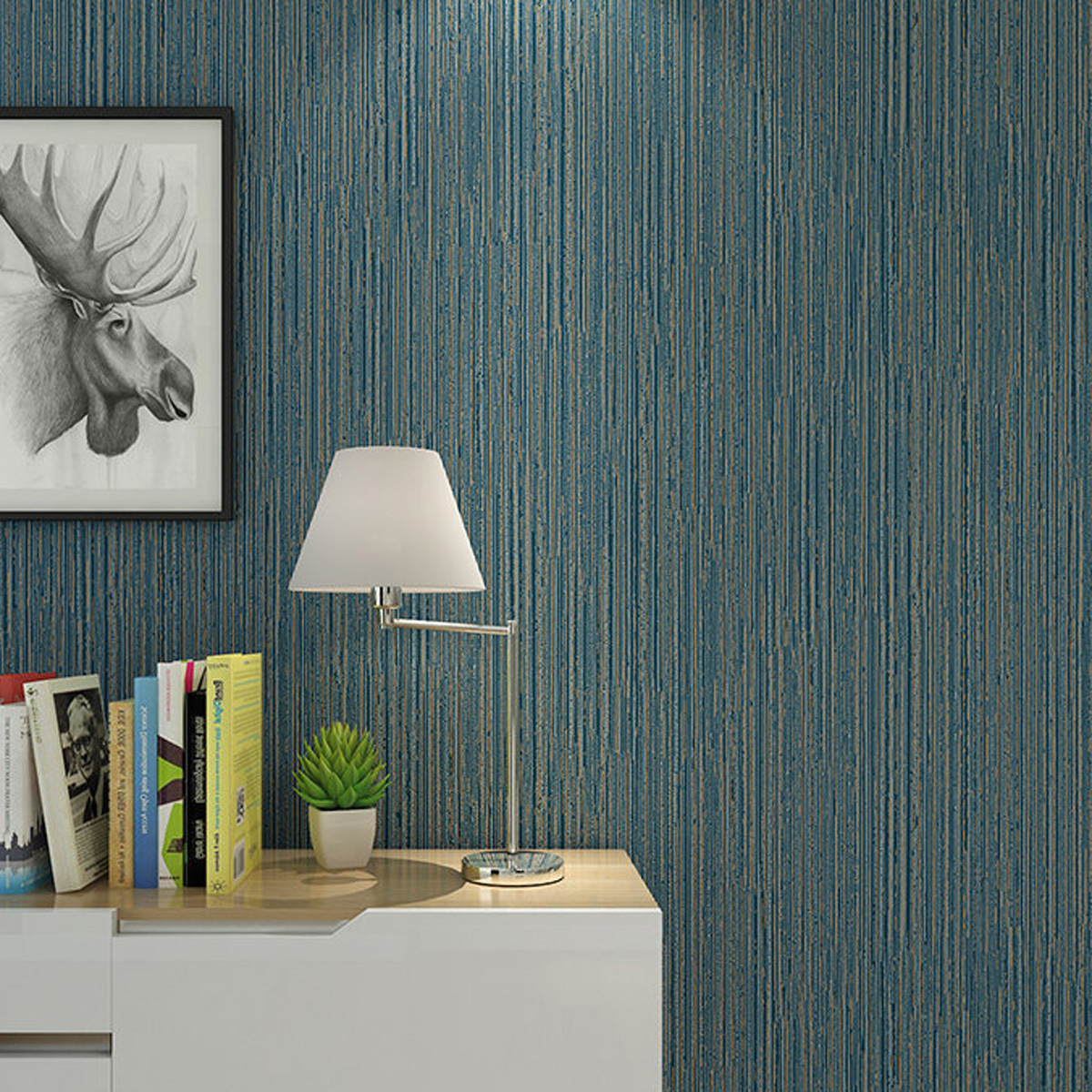 Modern Minimalist Vertical Striped Dark Green Solid Color Non-woven Wallpaper Northern European-Style Solid Color Bedroom Wall-t