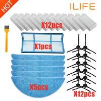 Filtro hepa de acessórios para substituição  esfregão de escova lateral para ilife v3 v3s v5 v5s v5s pro robô peças de limpeza