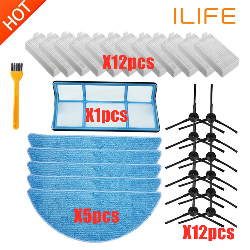 Replacement ILIFE Accessories Filter Hepa Filter Net Side Brush Mop For ILIFE V3 V3s V5 V5s V5s Pro Robot Vacuum Cleaner Parts