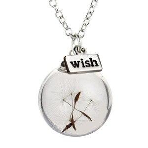 Ожерелье с стеклянной бутылкой натуральное семя одуванчика в стеклянном длинном ожерелье, ожерелье с серебряным покрытием