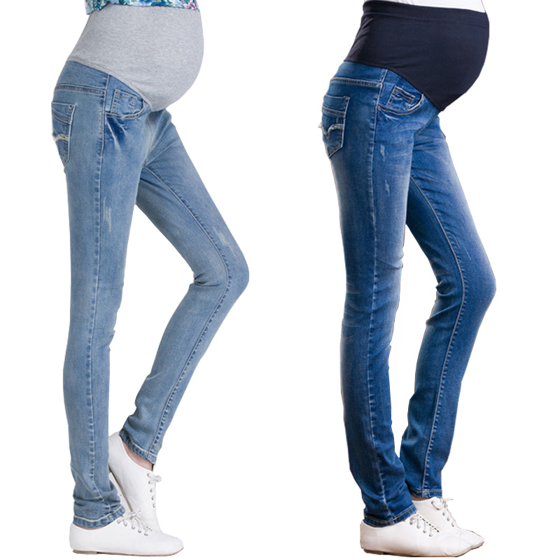 Denim Maternity Long For Pregnant Women Clothing Pregnancy Cotton+Denim Clothes Short Belly Ripped Jeans Pants High Waist