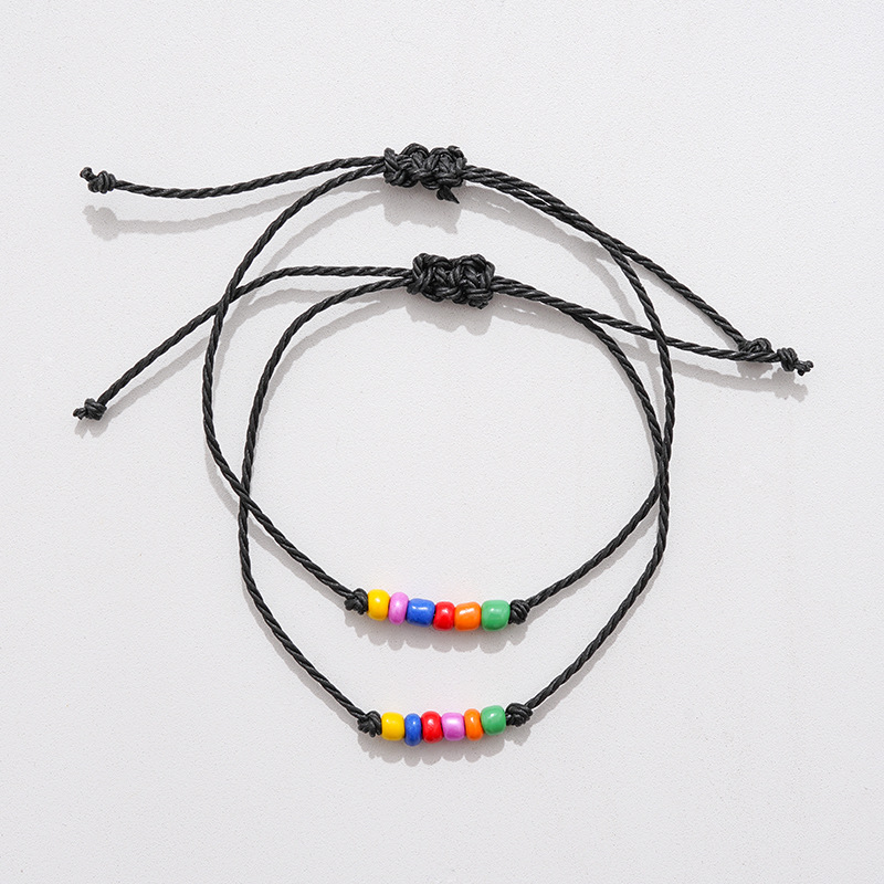 New Charm Bracelet For Friendship Couples 2pcs/set Volcanic stone bracelet Bead Bangles Women Man Lucky Wish Jewelry