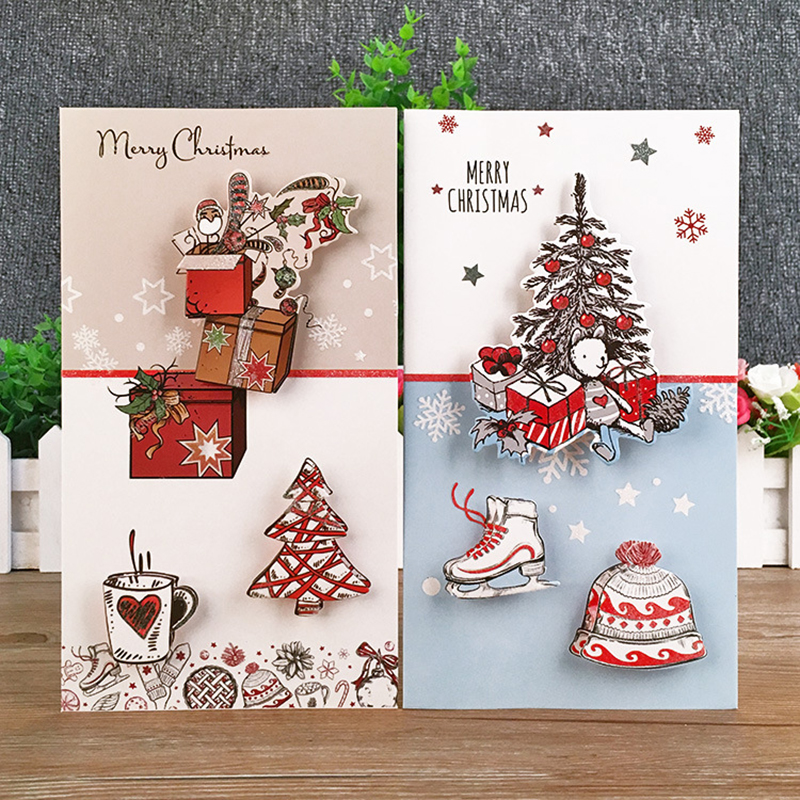 8 pièces noël cartes de voeux avec enveloppe Mini 3D arbre de noël cadeaux carte de voeux nouvel an cadeaux carte de noël fête décoration