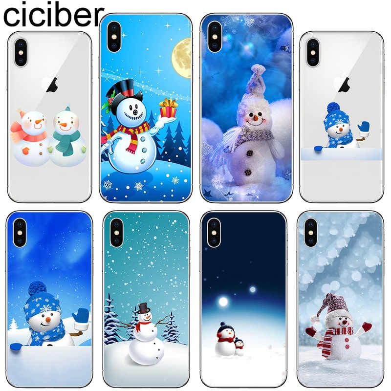 ciciber Phone Case for Iphone X XR XS Max Soft Silicone Christmas Snowman Cover for iphone 7 8 6 6S Plus 5S SE 11 Pro Max Coque