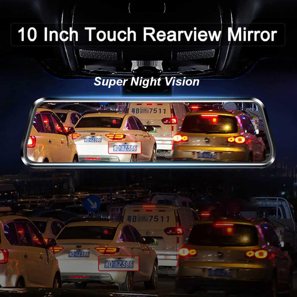 10 inç araba dikiz aynası akışı medya otomatik kaydedici araba Video ayna IPS dokunmatik ekran ayna DVR FHD Dash kamera kayıt