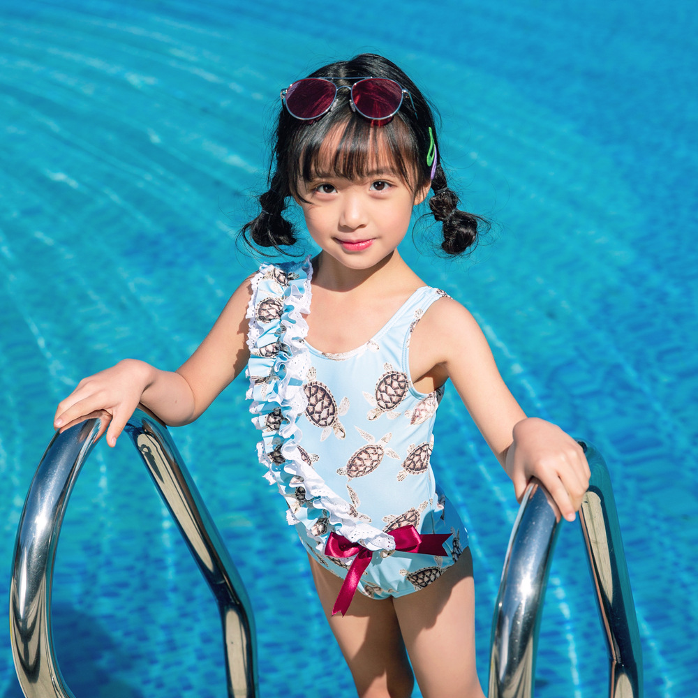 19 New Style One-piece Swimming Suit Send Swimming Cap Cartoon Large Bow Small Fresh New Super Cute Hot Springs Girls KID'S Swim