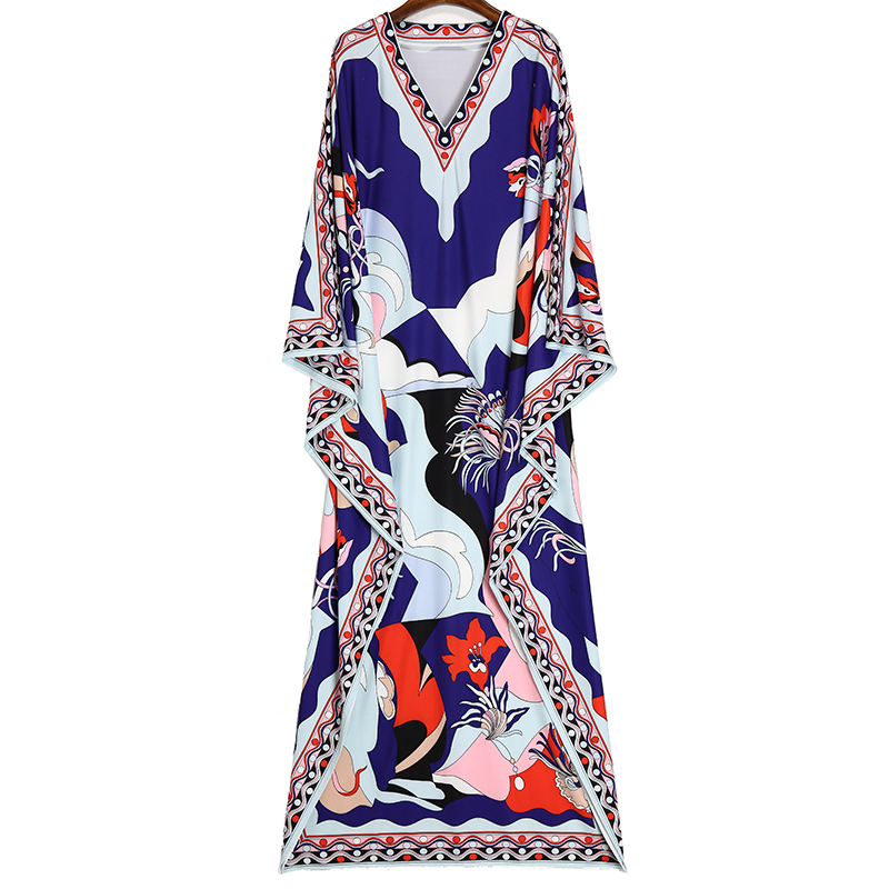 MoaaYina Fashion Designer Runway dress Spring Summer Women Dress V Neck Batwing Sleeve Print Plus Size Loose Beach Maxi Dresses