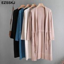 2019 Autumn winter Drawstring knit Cardigans Women midi long sweater Cardigan Female outwear Jacket Coat with pocket new