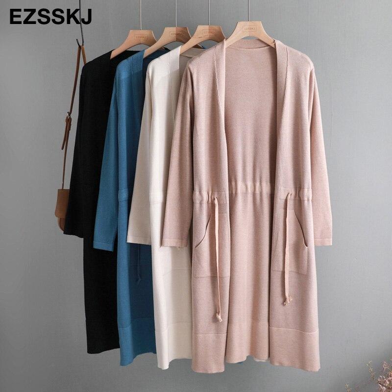 2019 Outono inverno Com Cordão de malha Cardigans Mulheres midi longo suéter Feminino outwear Jaqueta Casaco com bolso novo