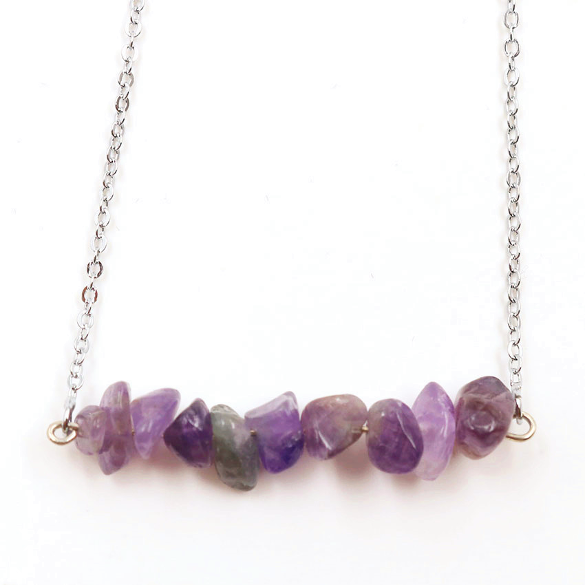 FYJS Unique Silver Plated Irregular Shape Small Natural Purple Amethysts Stone Pendant Link Chain Necklace