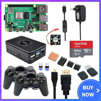 Raspberry Pi 4 Model B Game Kit 8GB + 2.4Ghz Wireless Gamepads + 64G 32G SD Card + Case + Switch Power Supply + Fan + HDMI Cable