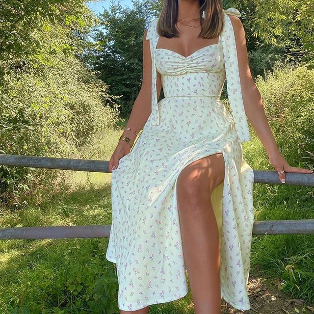 Floral Dress Sleeveless Strap Robe Longue Maxi For Women Femme Vestido De La Correa Lange Mouw Jurk Manga Fleurie Sundresses 5