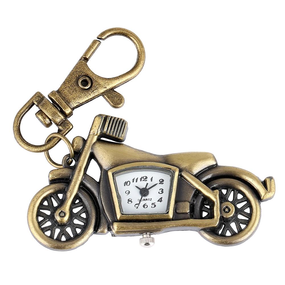 Cool Motorcycle Model Key Chain Ring Pocket Watch For Men Women Bronze Pendant Clock Accessory Children Gift Reloj De Bolsillo