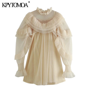 KPYTOMOA kobiety 2020 moda plisowana, pomarszczona wykończenia tiul Mini sukienka w stylu Vintage z długim rękawem z podszewką sukienki damskie Vestidos Mujer