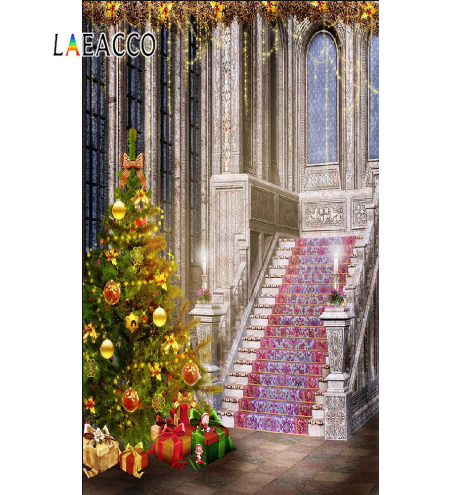 Laeacco Photography Backdrops Christmas Tree Luxury Decor Old Palace Staircase Photographic Backgrounds Photocall Photo Studio in Background from Consumer Electronics