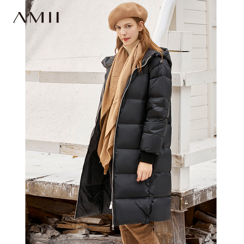 Amii Winter Women Fashion 90% White Duck Down Coat Female Hooded Zipper Thick Long Jacket Tops 11930486